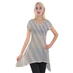 Sand Pattern Wave Texture Short Sleeve Side Drop Tunic by Simbadda