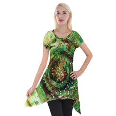 Canvas Acrylic Design Color Short Sleeve Side Drop Tunic by Simbadda