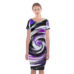 Canvas Acrylic Digital Design Classic Short Sleeve Midi Dress by Simbadda