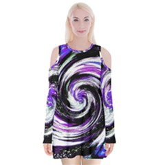 Canvas Acrylic Digital Design Velvet Long Sleeve Shoulder Cutout Dress