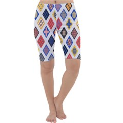 Plaid Triangle Sign Color Rainbow Cropped Leggings  by Alisyart