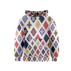 Plaid Triangle Sign Color Rainbow Kids  Pullover Hoodie by Alisyart