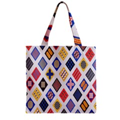 Plaid Triangle Sign Color Rainbow Zipper Grocery Tote Bag by Alisyart