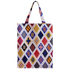 Plaid Triangle Sign Color Rainbow Zipper Classic Tote Bag by Alisyart