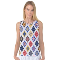 Plaid Triangle Sign Color Rainbow Women s Basketball Tank Top by Alisyart