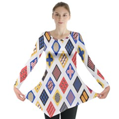 Plaid Triangle Sign Color Rainbow Long Sleeve Tunic  by Alisyart