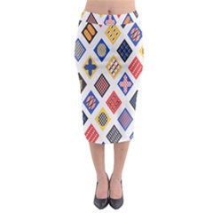 Plaid Triangle Sign Color Rainbow Midi Pencil Skirt by Alisyart