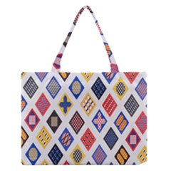 Plaid Triangle Sign Color Rainbow Medium Zipper Tote Bag by Alisyart