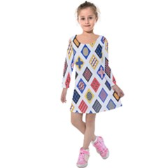 Plaid Triangle Sign Color Rainbow Kids  Long Sleeve Velvet Dress by Alisyart