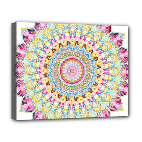 Kaleidoscope Star Love Flower Color Rainbow Deluxe Canvas 20  X 16   by Alisyart