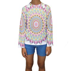 Kaleidoscope Star Love Flower Color Rainbow Kids  Long Sleeve Swimwear by Alisyart
