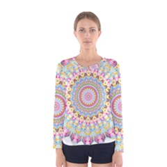 Kaleidoscope Star Love Flower Color Rainbow Women s Long Sleeve Tee by Alisyart