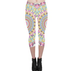 Kaleidoscope Star Love Flower Color Rainbow Capri Leggings