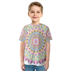 Kaleidoscope Star Love Flower Color Rainbow Kids  Sport Mesh Tee by Alisyart