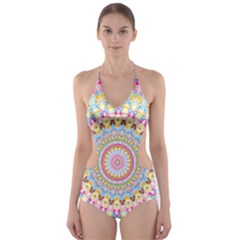 Kaleidoscope Star Love Flower Color Rainbow Cut Out One Piece Swimsuit