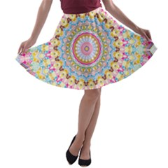 Kaleidoscope Star Love Flower Color Rainbow A Line Skater Skirt by Alisyart