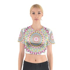Kaleidoscope Star Love Flower Color Rainbow Cotton Crop Top by Alisyart