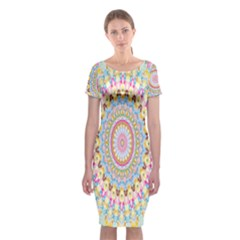 Kaleidoscope Star Love Flower Color Rainbow Classic Short Sleeve Midi Dress by Alisyart