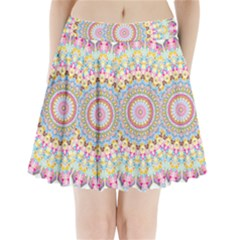 Kaleidoscope Star Love Flower Color Rainbow Pleated Mini Skirt by Alisyart
