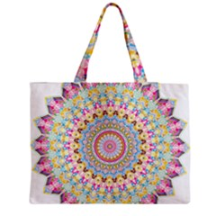 Kaleidoscope Star Love Flower Color Rainbow Medium Zipper Tote Bag by Alisyart