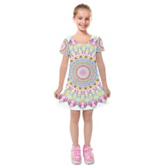 Kaleidoscope Star Love Flower Color Rainbow Kids  Short Sleeve Velvet Dress by Alisyart