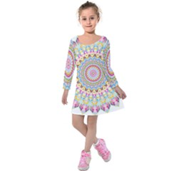 Kaleidoscope Star Love Flower Color Rainbow Kids  Long Sleeve Velvet Dress by Alisyart