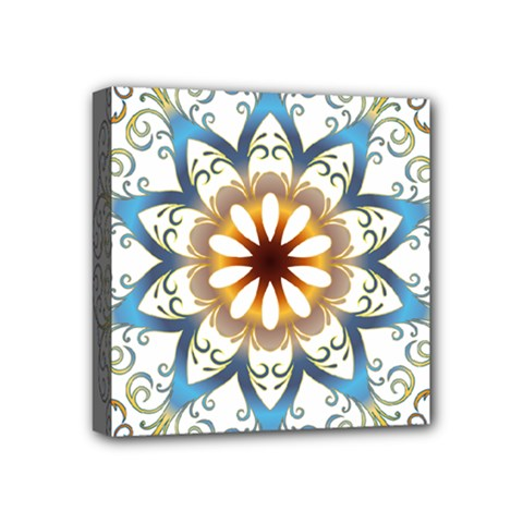 Prismatic Flower Floral Star Gold Green Purple Orange Mini Canvas 4  X 4  by Alisyart