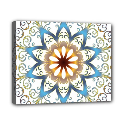 Prismatic Flower Floral Star Gold Green Purple Orange Canvas 10  X 8  by Alisyart