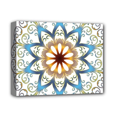 Prismatic Flower Floral Star Gold Green Purple Orange Deluxe Canvas 14  X 11  by Alisyart