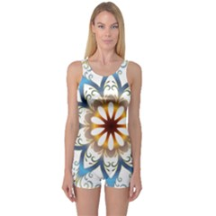 Prismatic Flower Floral Star Gold Green Purple Orange One Piece Boyleg Swimsuit