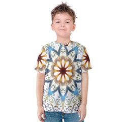 Prismatic Flower Floral Star Gold Green Purple Orange Kids  Cotton Tee by Alisyart