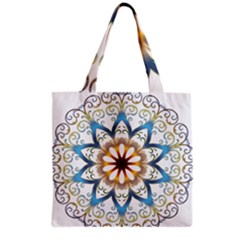 Prismatic Flower Floral Star Gold Green Purple Orange Grocery Tote Bag by Alisyart