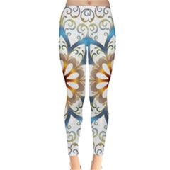 Prismatic Flower Floral Star Gold Green Purple Orange Classic Winter Leggings by Alisyart