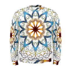 Prismatic Flower Floral Star Gold Green Purple Orange Men s Sweatshirt