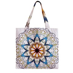 Prismatic Flower Floral Star Gold Green Purple Orange Zipper Grocery Tote Bag by Alisyart