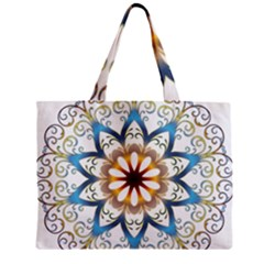 Prismatic Flower Floral Star Gold Green Purple Orange Zipper Mini Tote Bag by Alisyart