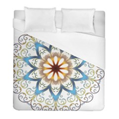 Prismatic Flower Floral Star Gold Green Purple Orange Duvet Cover (full/ Double Size) by Alisyart