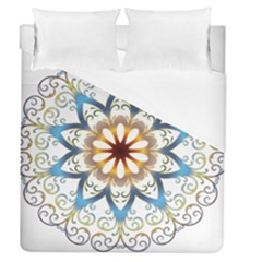 Prismatic Flower Floral Star Gold Green Purple Orange Duvet Cover (queen Size) by Alisyart