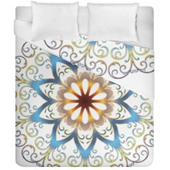Prismatic Flower Floral Star Gold Green Purple Orange Duvet Cover Double Side (california King Size) by Alisyart