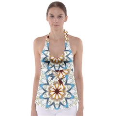 Prismatic Flower Floral Star Gold Green Purple Orange Babydoll Tankini Top by Alisyart