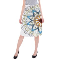 Prismatic Flower Floral Star Gold Green Purple Orange Midi Beach Skirt by Alisyart