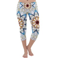 Prismatic Flower Floral Star Gold Green Purple Orange Capri Yoga Leggings