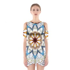 Prismatic Flower Floral Star Gold Green Purple Orange Shoulder Cutout One Piece