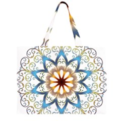 Prismatic Flower Floral Star Gold Green Purple Orange Zipper Large Tote Bag by Alisyart