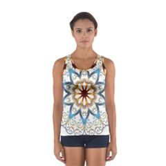 Prismatic Flower Floral Star Gold Green Purple Orange Women s Sport Tank Top  by Alisyart