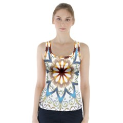 Prismatic Flower Floral Star Gold Green Purple Orange Racer Back Sports Top by Alisyart