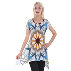 Prismatic Flower Floral Star Gold Green Purple Orange Short Sleeve Side Drop Tunic by Alisyart