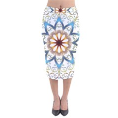 Prismatic Flower Floral Star Gold Green Purple Orange Velvet Midi Pencil Skirt by Alisyart