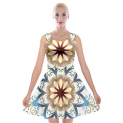 Prismatic Flower Floral Star Gold Green Purple Orange Velvet Skater Dress by Alisyart