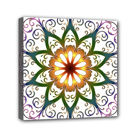 Prismatic Flower Floral Star Gold Green Purple Mini Canvas 6  X 6  by Alisyart